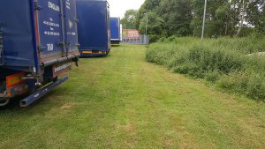 Lorries backed up over grass