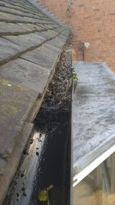 blocked gutter cleaning