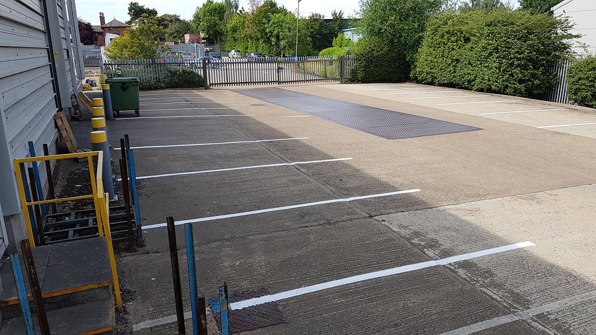 Acrylic paint line marking car parks