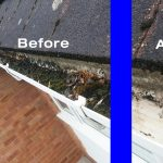 high reach gutter clearing before and after